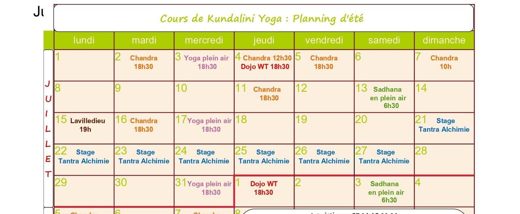 planning des cours d'été - yoga montauban